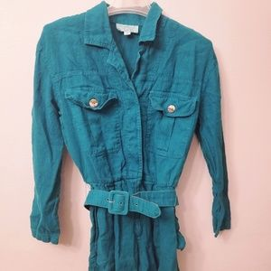 Cache Romper Long Sleeve Size 4 Teal